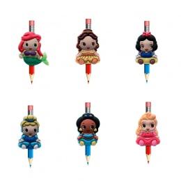 8 sztuk/partia urocza księżniczka Cartoon pcv nakładka na ołówek długopis pokrywa ołówek czapki biurowe zestaw szkolne/materiały