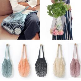 Torby na zakupy wielokrotnego użytku sklep spożywczy torba bawełniana Tote Mesh tkana torba na ramię Mesh netto torba na zakupy