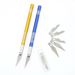 (1 uchwyt + 6 noży) do obróbki drewna DIY metalowe rzemiosło rzeźba nóż telefon komórkowy folia nóż do cięcia nóż do papieru pły