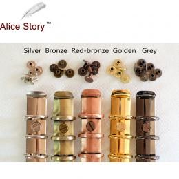 Alice Story nowe kolorowe śruby do spirali spoiwa 5 kolorów srebrny/brązowy/czerwony brązowy/szary/złoty 10 par/partia luźne liś