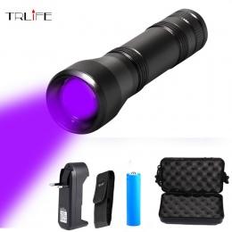 LED UV latarka UV światła L2/T6 białe światełka LED latarka światła 5 tryb Zoomable 395nm ultrafioletowe światło Blacklight prze