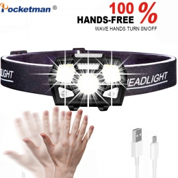 5000 lumenów doprowadziły reflektor czujnik ruchu Ultra jasne twardy kapelusz głowy lampa potężny reflektor USB akumulator tarka