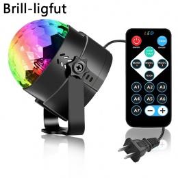 Aktywowane dźwiękiem obracanie kula dyskotekowa oświetlenie imprezowe światło stroboskopowe 3 W RGB LED światła sceniczne na boż