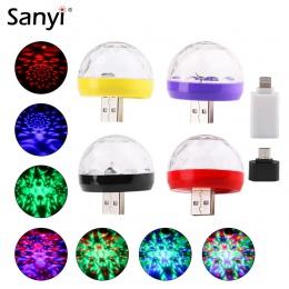 Mini USB Disco światła LED oświetlenie imprezowe przenośny kryształ magiczna kula kolorowe efekt lampa sceniczna dla domu Karaok