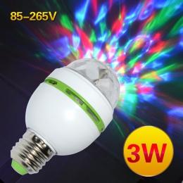 E27 3 W kolorowe, automatyczne obracanie RGB żarówka LED etap światła lampa Party dyskoteka dla oświetlenie do dekoracji domu u