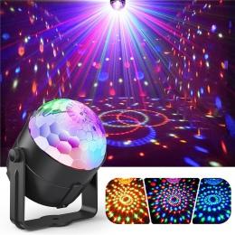 Aktywowane dźwiękiem Disco światła obracanie światła kulkowe 3 W RGB LED światła sceniczne na boże narodzenie domu KTV boże naro