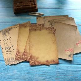 Kraft brązowy papier listowy 16 arkuszy w stylu Vintage kwiat projekt papier firmowy list papier do pisania list Pad rysunek szk