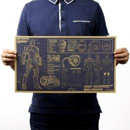 Iron Man rysunki projektowe nostalgiczny papier pakowy vintage klasyczny film plakat do dekoracji domu ścianie garażu sztuka dek
