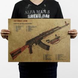 AK47 pistolet ulepszona struktura projekt w stylu Vintage klasyczny plakat Home Decoration Art czasopisma Retro plakaty i reprod
