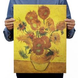 Van Gogh słonecznik papier pakowy vintage klasyczny film plakat do dekoracji domu ścianie garażu sztuka dekoracyjna Retro drukuj