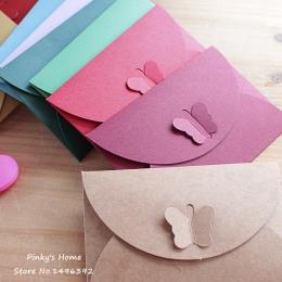10 sztuk/partia kolorowe motyl klamra Kraft koperta papierowa s prosta miłość Retro klamra ozdobna koperta mała koperta papierow