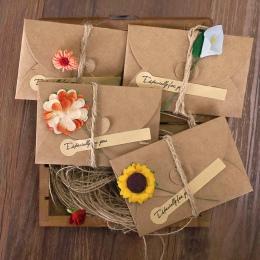 10.5X7.1 cm 1 zestaw papier pakowy vintage prezent kartka okolicznościowa z kopertą ręcznie zrobiony kwiatek papieru naklejki ko