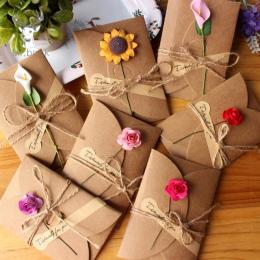 10 sztuk Retro DIY papier pakowy zaproszenie powitanie kartka okolicznościowa z kopertą Handmade suchy kwiat zaproszenie na ślub