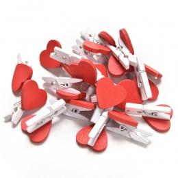 20 sztuk Mini serce miłość drewniane ubrania papier fotograficzny Peg Pin Clothespin Craft pocztówka klipy Home dekoracje ślubne