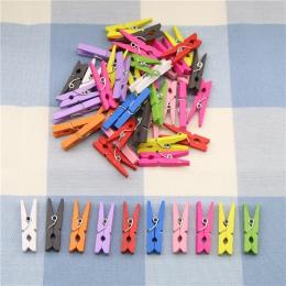 10 sztuk losowe Mini kolorowe sprężynowe klipsy drewniane ubrania zdjęcie papieru Peg Pin Clothespin Craft klipy strona dekoracj