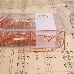 Różowe złoto miłość spinacz do papieru kreatywny specjalne-modelowanie w kształcie klip metalowe akcesoria biurowe spinacze meta