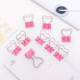 4 sztuk/partia różowy klip serce Hollow Out Metal spinacze do papieru notatki list spinacz biurowy FOD