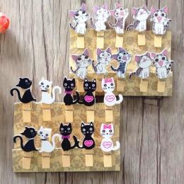 10 sztuk japoński kot drewniane klipy z konopi liny Mini ładny klip do żywności Kawaii drewno papier klip do torby uczniów narzę