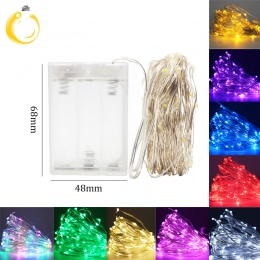 LED String lights 10 M 5 M 2 M srebrny drut Garland Home boże narodzenie Wedding Party Decoration zasilany 5 V akumulator USB ba