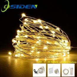 LED String światło pasek srebrny drut wróżka ciepły biały Garland Home boże narodzenie Wedding Party Decoration zasilany z bater