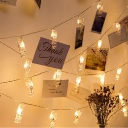 ANBLUB 1.5 M 2 M 3 M podstawka na zdjęcie z klipsem LED String światła na boże narodzenie nowy rok Party ślub dekoracja domu baj