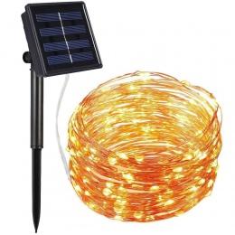 72ft 22 M 200 LED pasek światła domu ogród miedzi przewód oswietleniowy String Fairy na zewnątrz zasilany energią słoneczną boże
