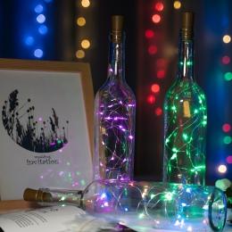 2 M 20 na wino LED lampki do butelek Cork LED girlanda świetlna srebrny drut wróżka światła do szkła rzemiosło boże narodzenie s