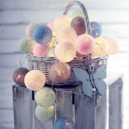 Garland piłki bawełniane String Lights średnica 6 CM bawełniane światełka kule łańcuch Guirlande Lumineuse LED światła strona de