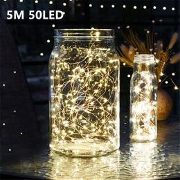 5 M 50 LED CR2032 na baterie LED String światła na boże narodzenie Garland dekoracja na przyjęcie ślubne boże narodzenie Flasher