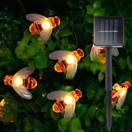 Nowy zasilany energią słoneczną słodkie miód pszczoła Led String Fairy światła 20 diod Led 30 diod Led pszczoła na zewnątrz ogró