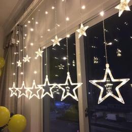 LED String światła Pentagram gwiazda kurtyna świetlna bajki ślub urodziny lampki świąteczne dekoracji wnętrz światła 220 V IP44