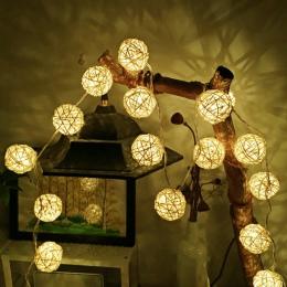 2 M 5 M kula ratanowa LED String światło wakacje Fairy światła ciepły biały dla dekoracja na przyjęcie ślubne girlanda ze świate