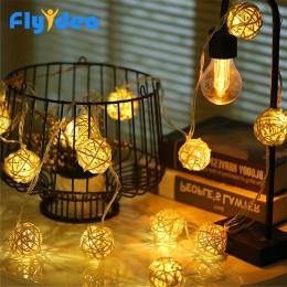 5 M LED bawełna światła ciąg 220 V/110 V boże narodzenie wróżka dekoracyjne światło rattanowe kulki lampa ciepły biały wesele og