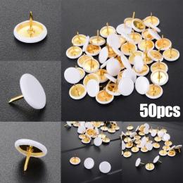 50 sztuk biały okrągły kształt Szpilki pinezki kciuka do szkoły tablica ogłoszeń tablica korkowa papieru