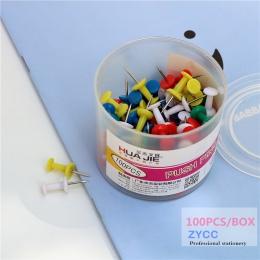100 sztuk z tworzywa sztucznego Szpilki biuro wiążące tablica korkowa bezpieczeństwo kolorowe pin duża głowa igły szpilki