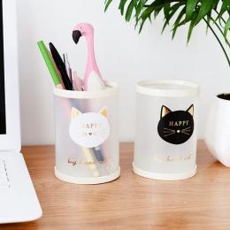 1 sztuk śliczne biurowe PP zwierząt kot gwiazda przezroczysty matowy okrągły uchwyt na długopis studentów dostaw ołówek posiadac