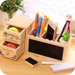 Drewniany uchwyt na długopis z tablicy śliczne pulpit pojemnik na ołówki Kawaii biurko Tidy organizator długopis kreatywne akces