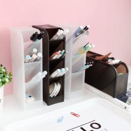 Wielofunkcyjny 4 siatka biurkowy stojak na długopisy biurowe szkoła etui do przechowywania przezroczysty biały czarna obudowa z