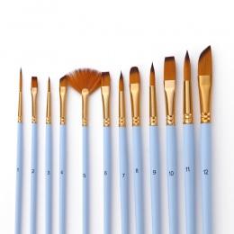 12 sztuk w porządku szczegóły pędzel zestaw podwójny kolor Taklon włosów pędzle malarskie do akrylu olej akwarela malarstwo rysu
