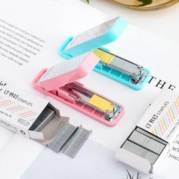 Geometryczny ręczny zszywacz nr 10 srebrny zszywki zestaw Mini grapadora papelaria biurowe biurowe akcesoria szkolne A6573