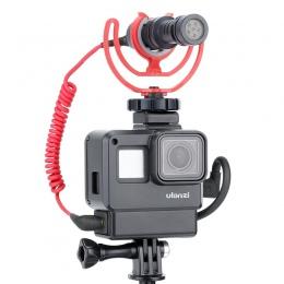 ULANZI V2 Vlog Gopro przypadku akcesoria do Gopro Hero 7 6 5 obudowa z tworzywa sztucznego z przedłużyć Port mikrofonu do montaż