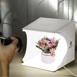 2 panele LED Mini składane Studio miękkie pudełko ulubionych Softbox fotografia zestaw tła zdjęcie lampa studyjna pudełko do apa