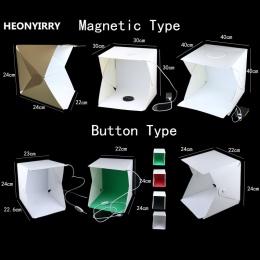 Przenośny składany Studio rozproszone miękkie pudełko z LED światła czarny biały fotografia tło fotografia Studio Box