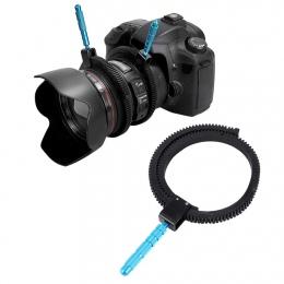 Dla lustrzanek DSLR aparat akcesoria do aparatu regulowane gumowe nóżki Follow Focus pierścień zębaty pas z uchwytem ze stopu al