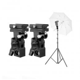 2 sztuk Meking Flash Hot Shoe lampy błyskowej Speedlite parasol uchwyt do montażu na obrotowe dla lekki statyw wspornik lampy bł