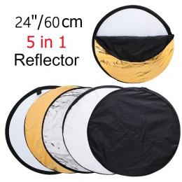 """24 """"60 cm 5in1 składany lampka przenośna dyfuzor okrągły Photo Studio reflektora DISC Multi Color Studio fotografia reflektor"""