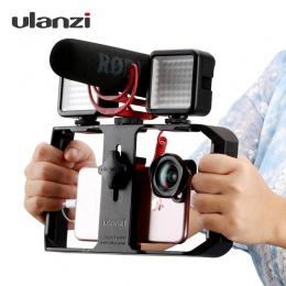 Ulanzi U Rig Pro Smartphone wideo Rig telefon stabilizator kamery uchwyt mocowanie do statywu z mikrofonem LED światła Port dla