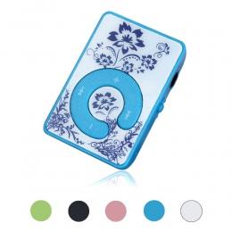 AIKEGLOBAL Hifi Mini klip kwiat wzór MP3 odtwarzacza odtwarzacz muzyczny wsparcie mediów Micro karta SD TF z kablem do ładowania