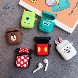 VOZRO Cartoon bezprzewodowy Bluetooth etui na słuchawki do Apple AirPods silikon ładowania słuchawki przypadki dla Airpods pokry