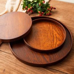 Okrągłe naturalne drewniana taca drewniany talerz herbata jedzenie serwera dania kuchni wody pić talerz żywności bambusa prostok
